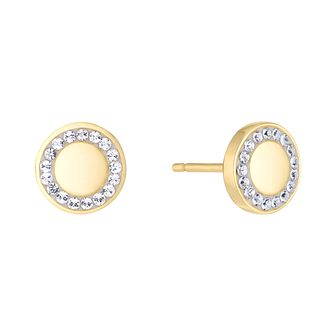 Evoke Silver & 9ct Gold Plated Crystal Halo Stud Earrings - Product number 5123496