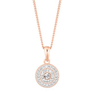 Evoke Silver & 9ct Rose Gold Plated Crystal Cluster Pendant - Product number 5123542