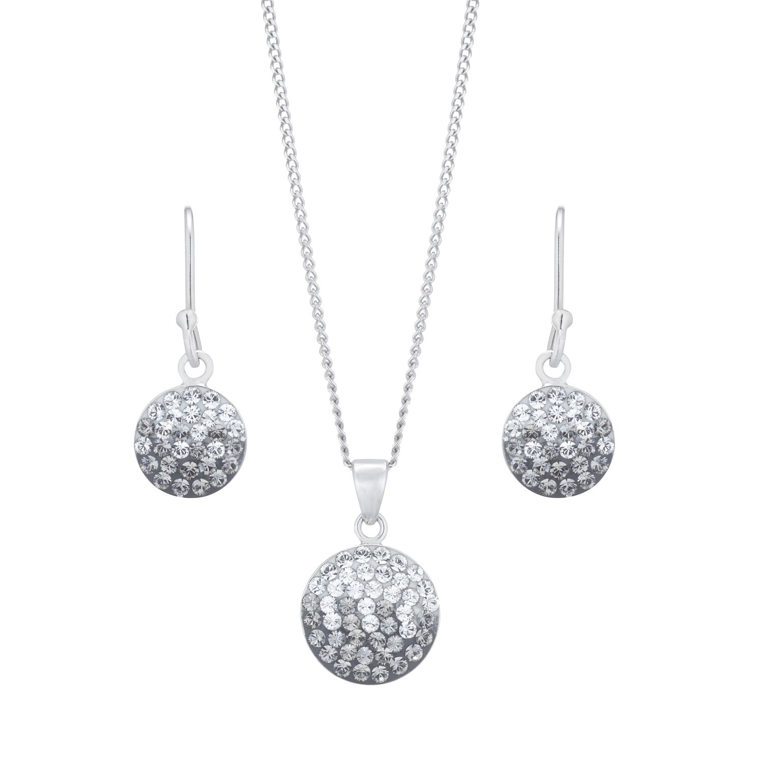 Evoke Silver Rhodium Plated Crystal Earrings & Pendant Set - Product number 5123550