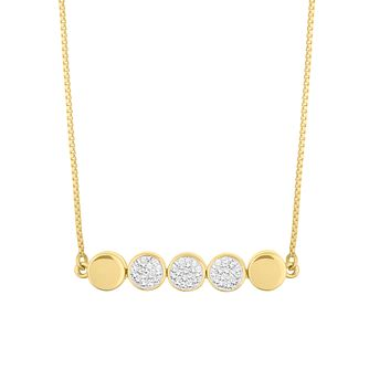Evoke Silver & 9ct Gold Plated Crystal Disc Necklace - Product number 5123569