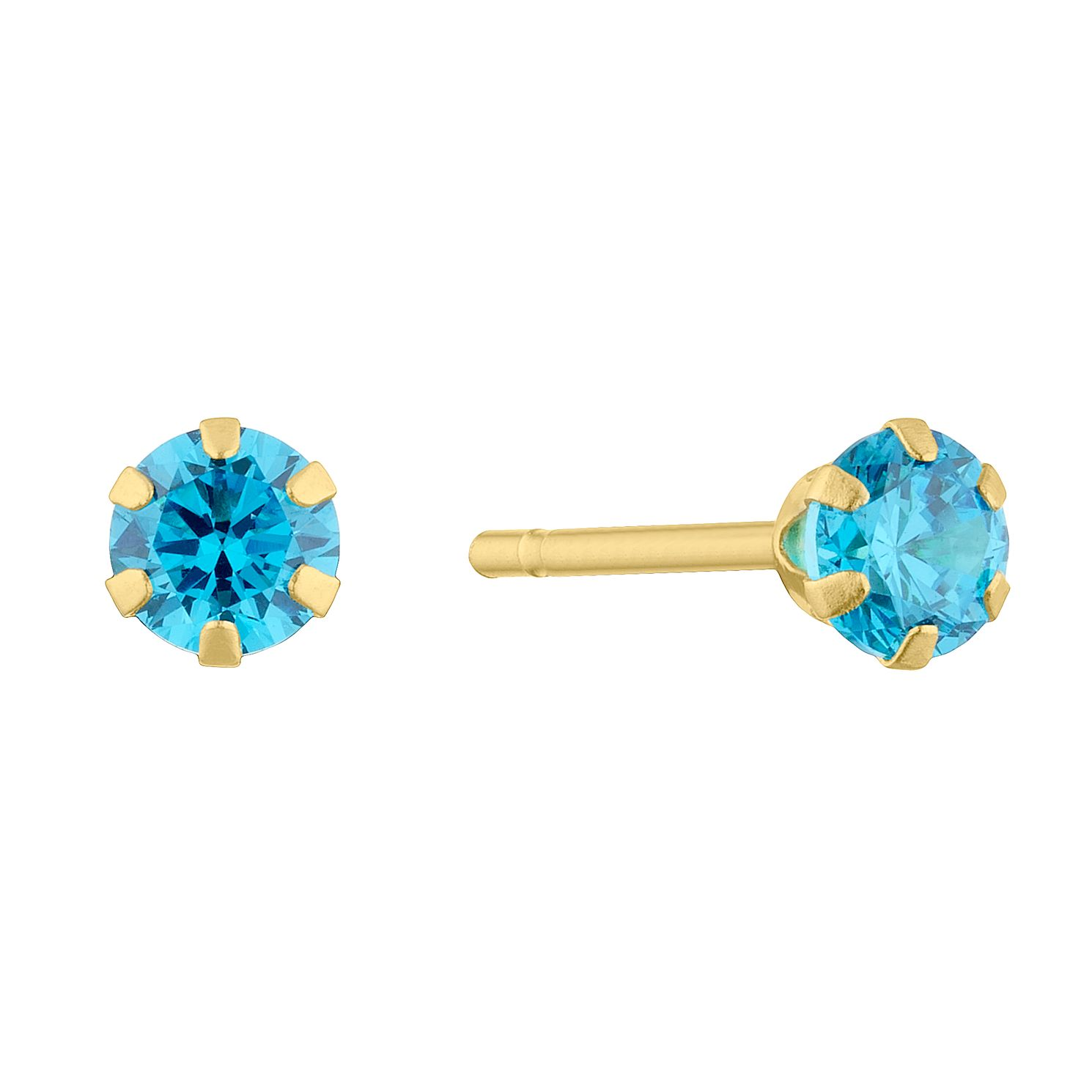 Children's 9ct Yellow Gold Blue Cubic Zirconia Stud Earrings - Product number 5123615
