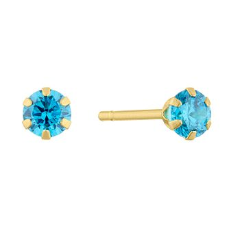 9ct Yellow Gold Blue Cubic Zirconia 3mm Stud Earrings - Product number 5123615