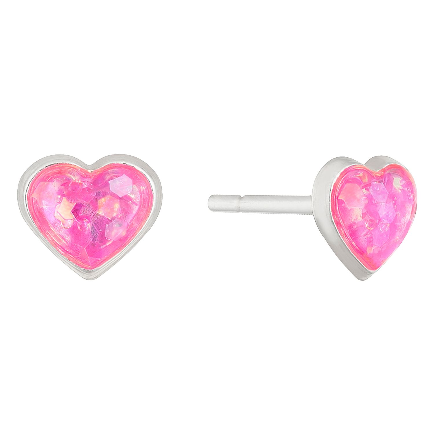 Children's Silver & Pink Glitter Heart Stud Earrings - Product number 5123623