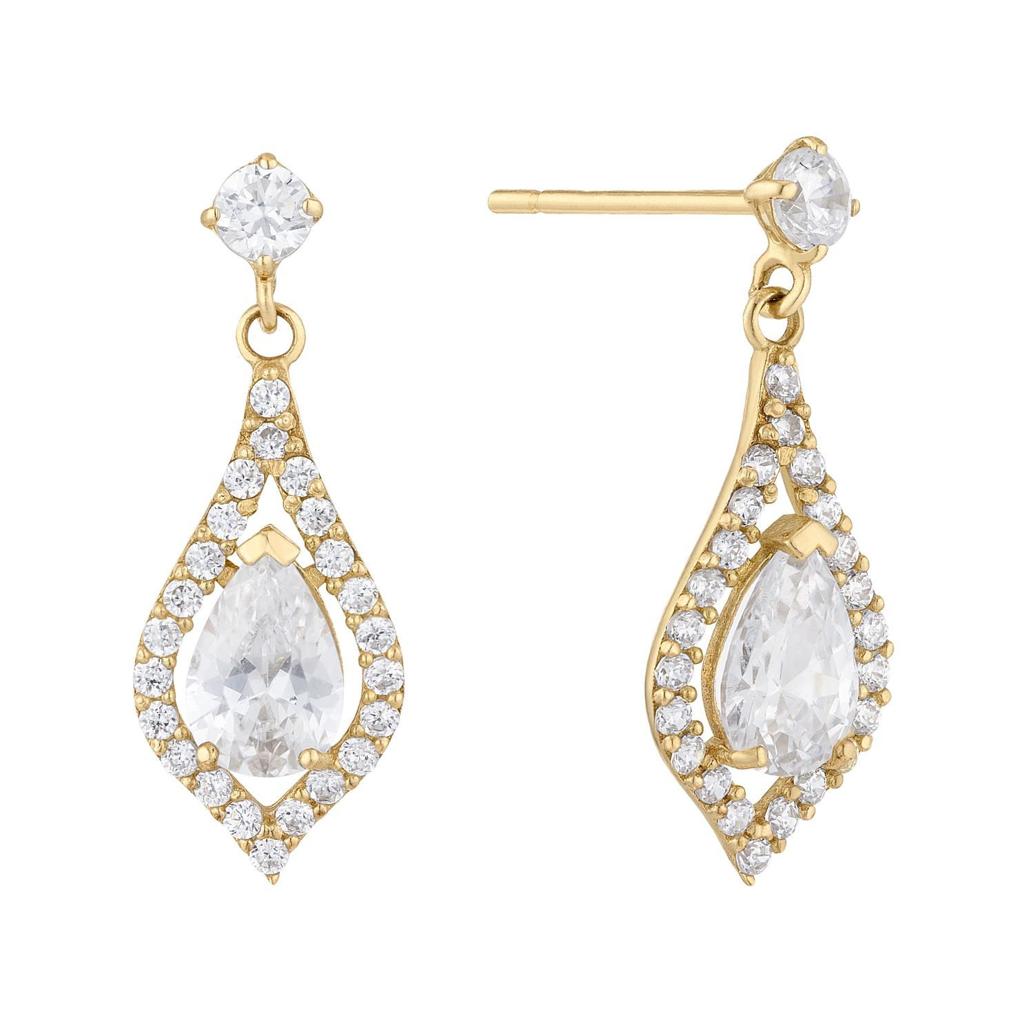 9ct Yellow Gold Cubic Zirconia Marquise Halo Drop Earrings - Product number 5123666