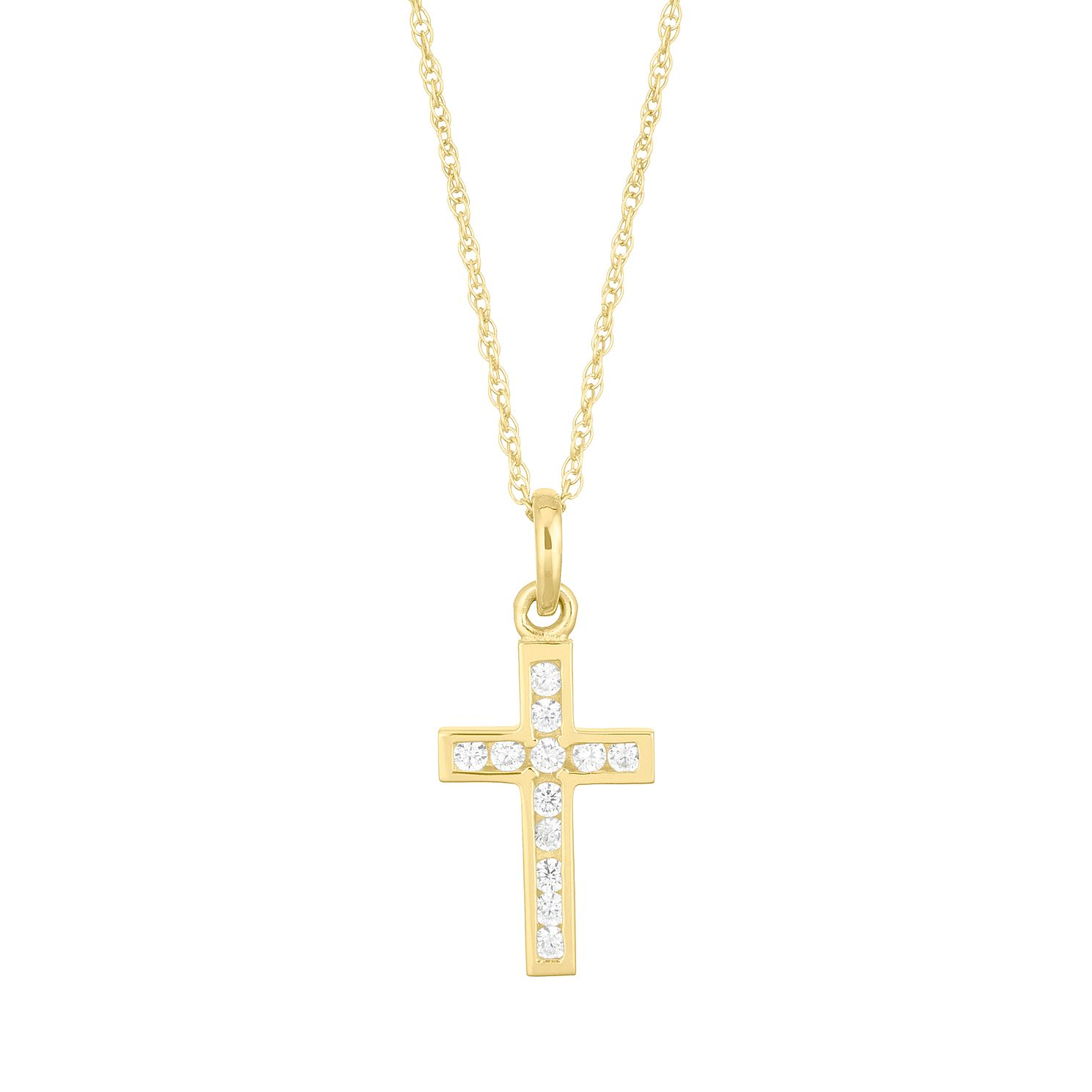 9ct Yellow Gold Cubic Zirconia Cross Pendant - Product number 5123674