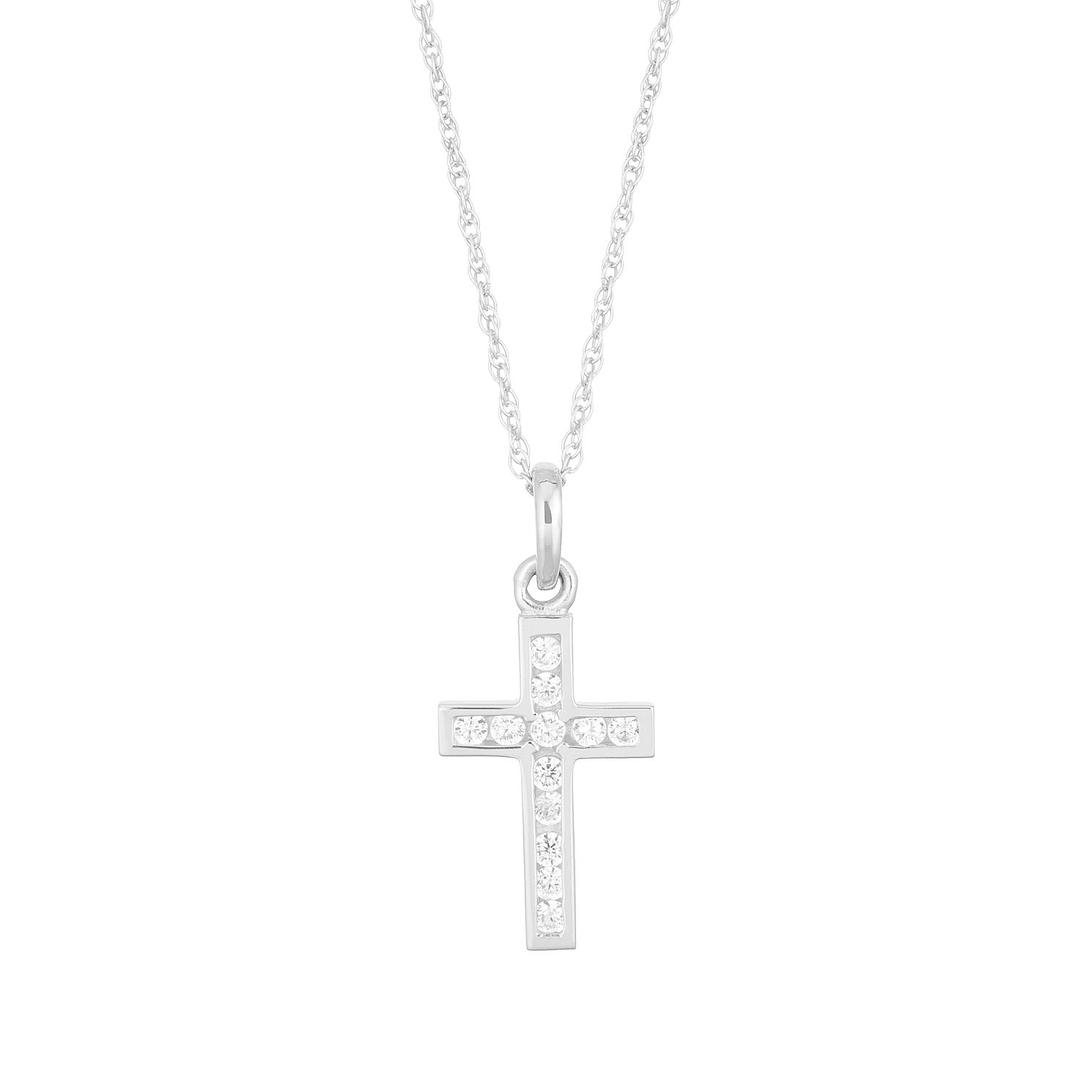 9ct White Gold Cubic Zirconia Cross Pendant - Product number 5123690