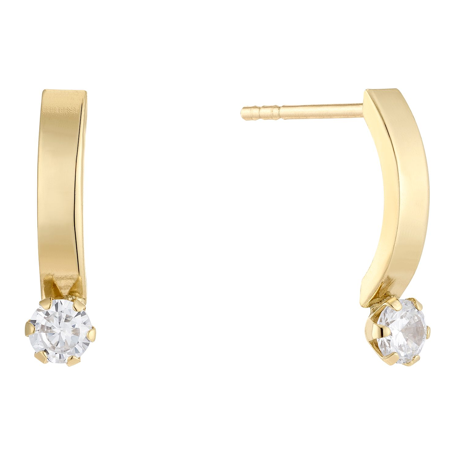 9ct Yellow Gold Cubic Zirconia Curve Bar Stud Earrings - Product number 5123720