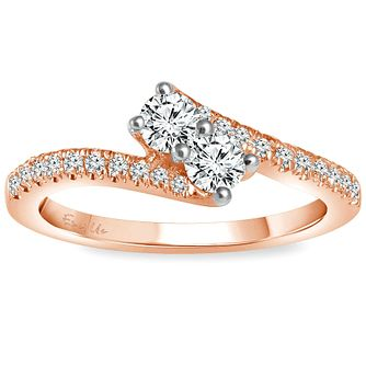 Ever Us 14ct Rose Gold 1/2 Carat Diamond 2 Stone Ring - Product number 5123771