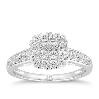 Princessa 18ct White Gold 2/3ct Diamond Square Cluster Ring - Product number 5125316