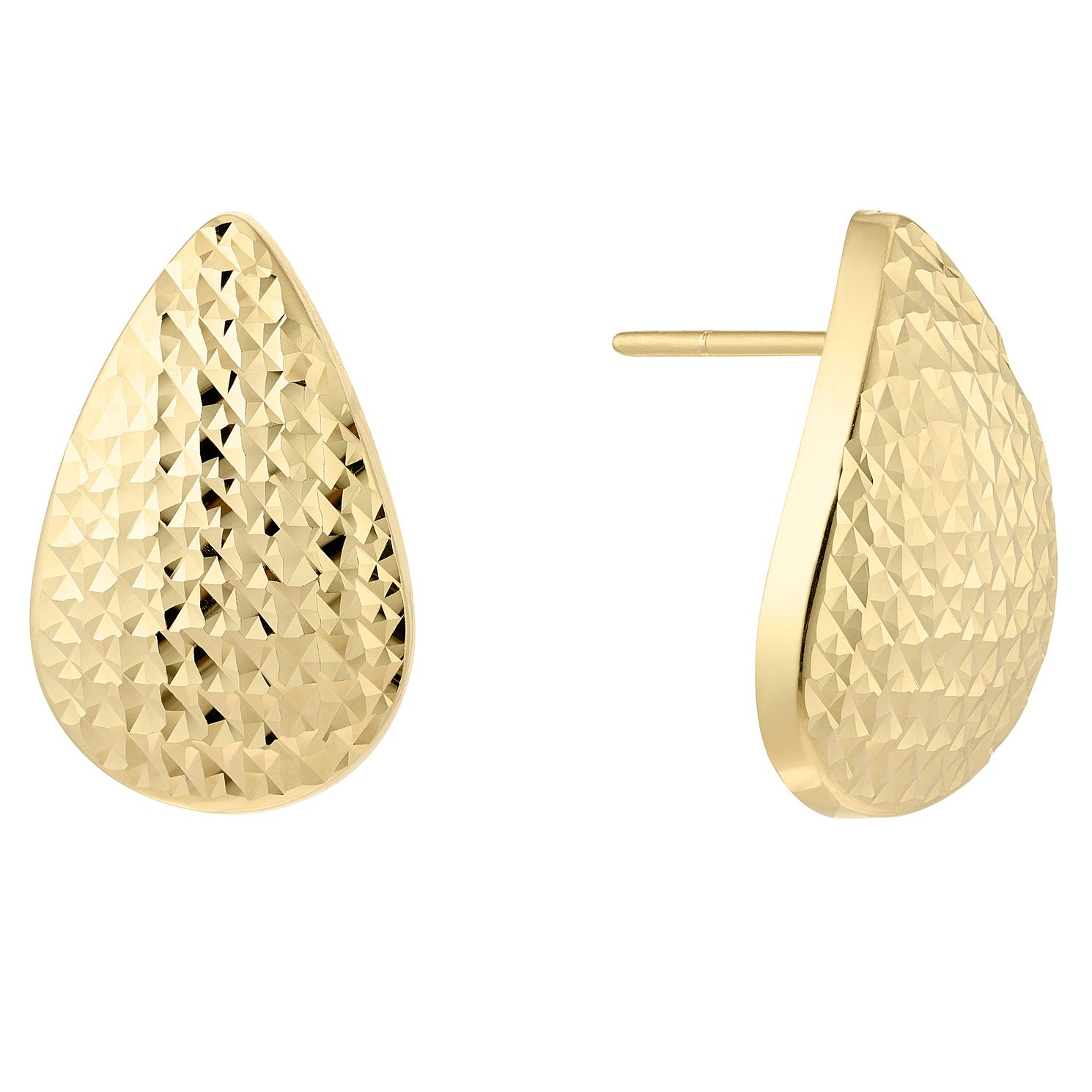 9ct Yellow Gold Diamond-Cut Teardrop Stud Earrings - Product number 5125634