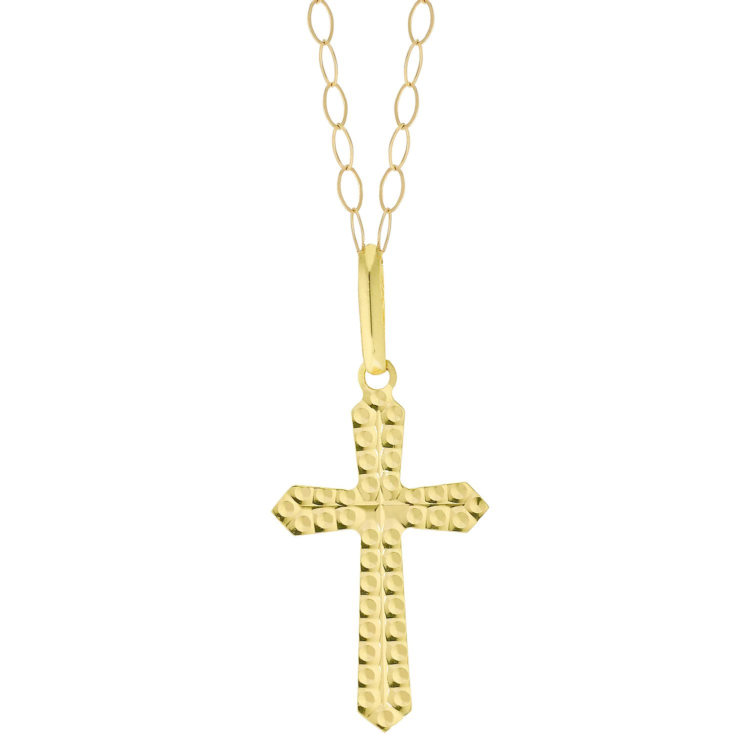 9ct Yellow Gold Diamond-Cut Cross Pendant - Product number 5125766