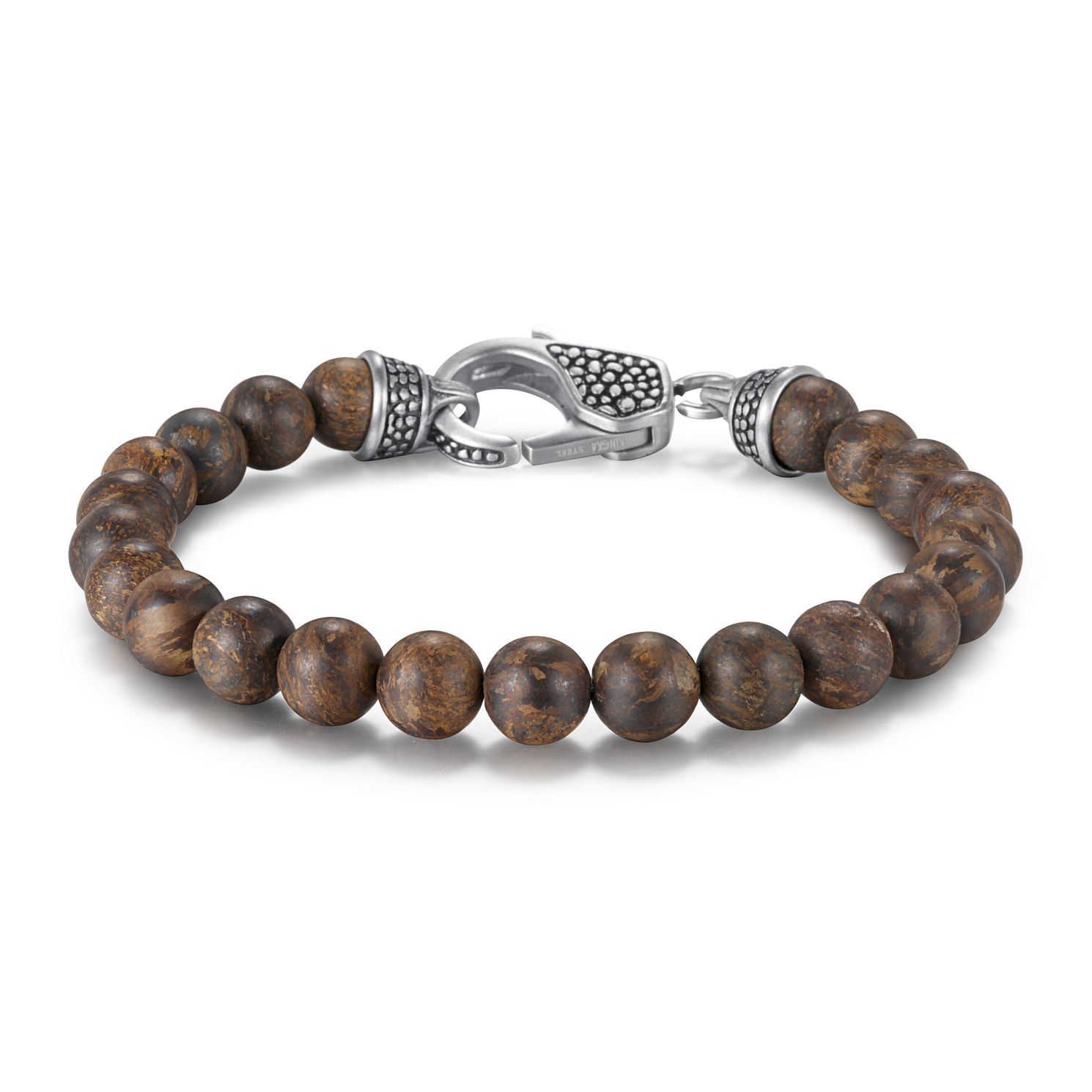 Kingka Matte Bronzite & Stainless Steel Bead Bracelet - Product number 5125944