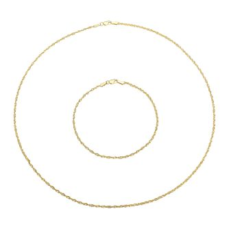 9ct Yellow Gold Sparkle Rope Chain Necklace & Bracelet Set - Product number 5125979