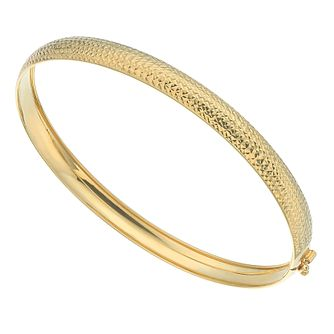 9ct Yellow Gold Diamond-Cut Hinged Bangle - Product number 5125987