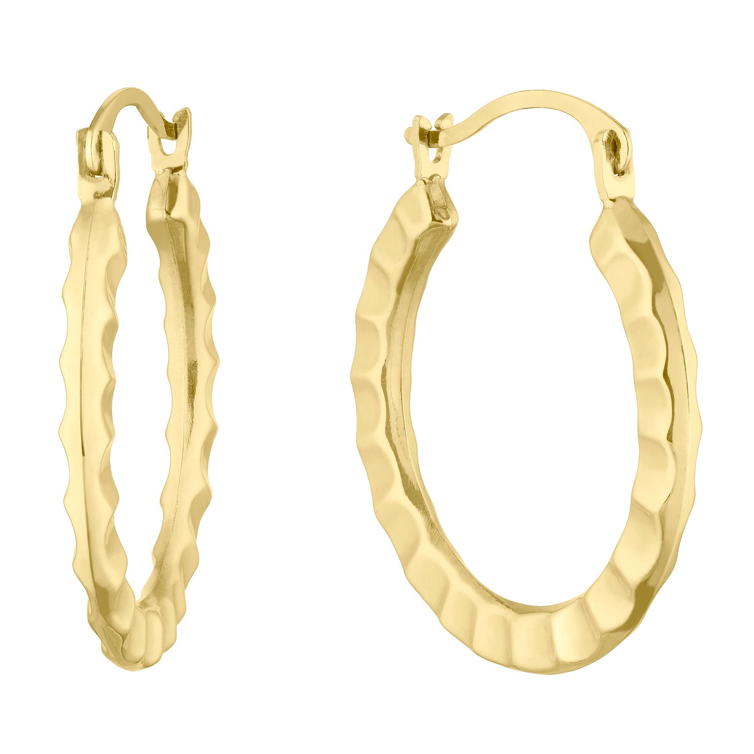 9ct Yellow Gold Hammered Creole Hoop Earrings - Product number 5126002