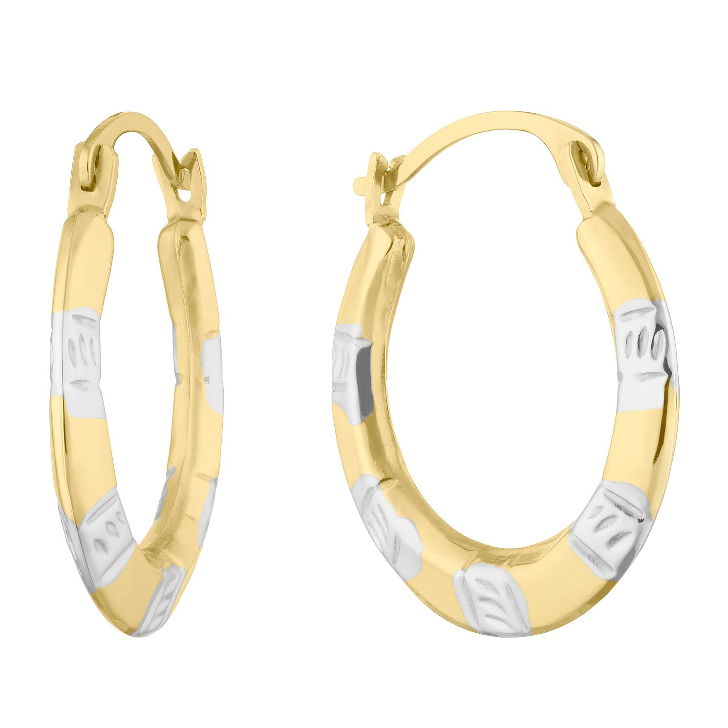 9ct Yellow Gold & Rhodium Plated Creole Hoop Earrings - Product number 5126010