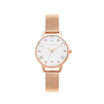 Olivia Burton Bejewelled Rose Gold Tone Mesh Bracelet Watch - Product number 5126061