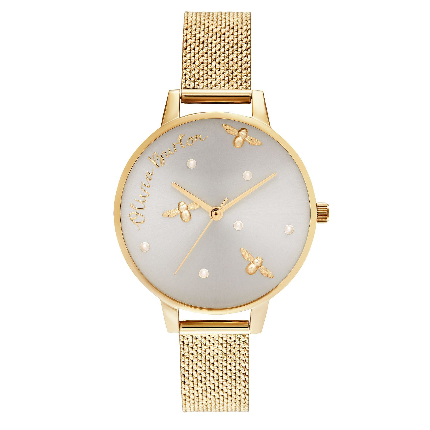 Olivia Burton Pearly Queen Gold Tone Mesh Bracelet Watch - Product number 5126738