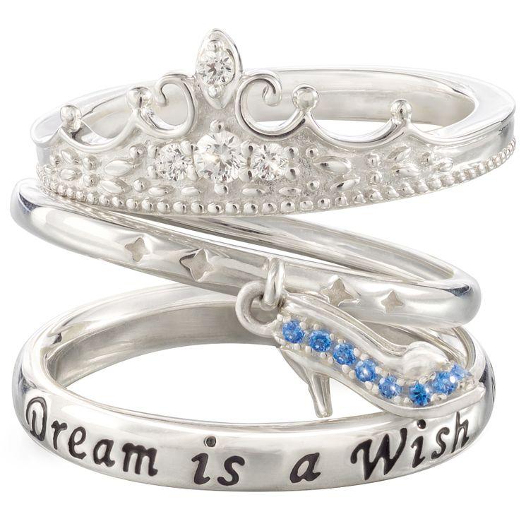 Chamilia Silver Disney Cinderella Stacker Ring Set Size S