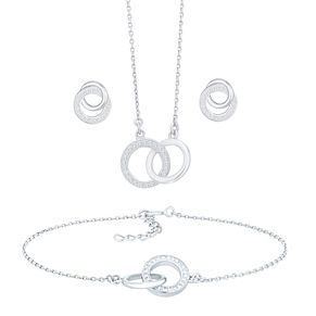 Rhodium Plated Crystal Double Circle Jewellery Set - Product number 5127904