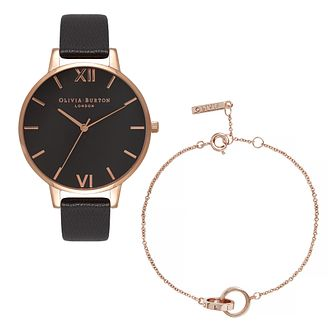 Olivia Burton Leather Strap Watch & Rose Gold Tone Bracelet - Product number 5127998