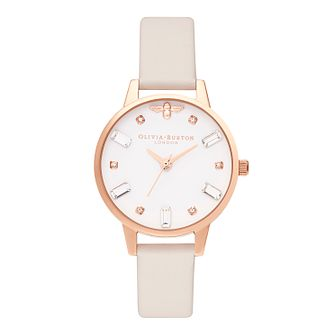 Olivia Burton Crystal Bee Pink Vegan Leather Strap Watch - Product number 5128056