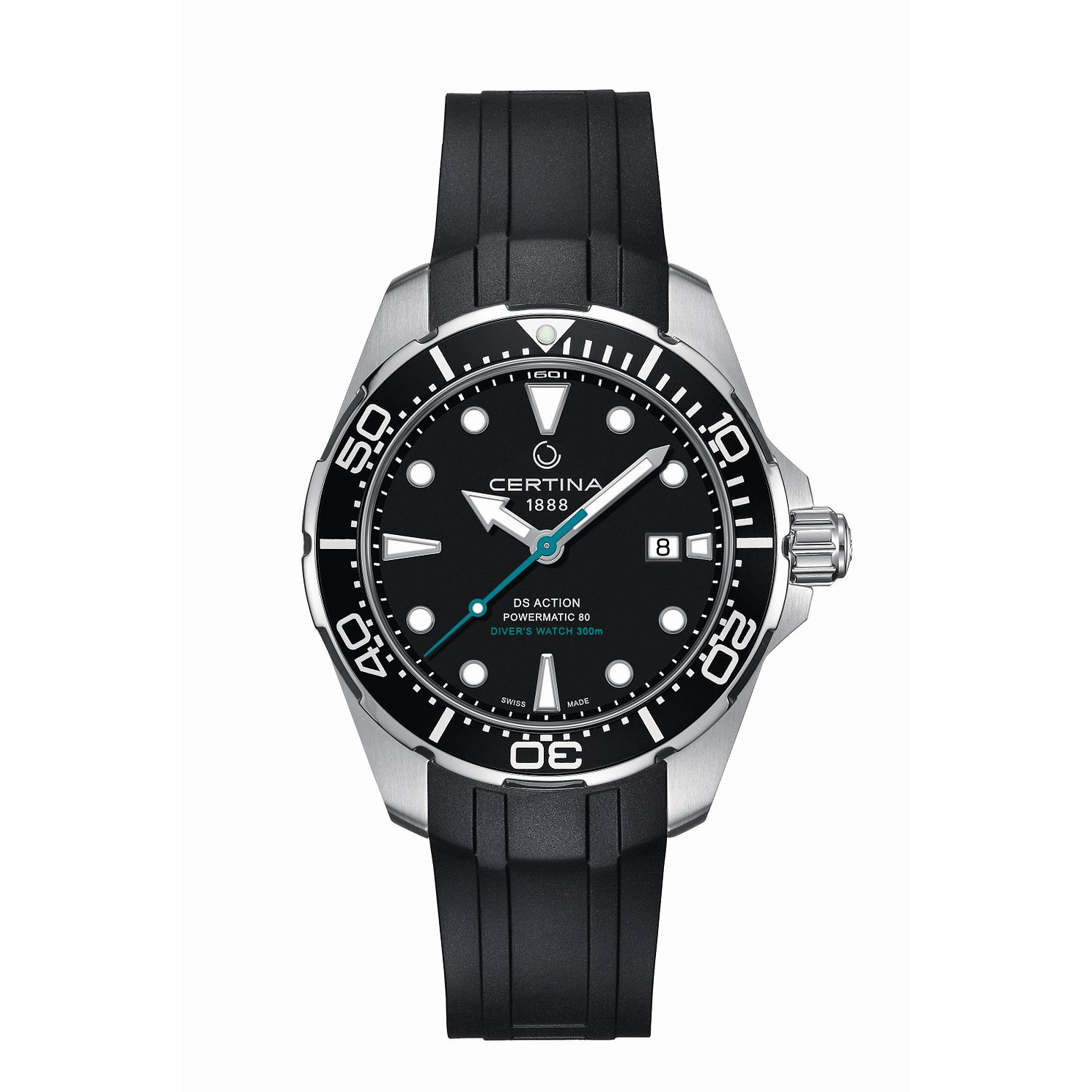 Certina Ds Action Diver Powermatic Black Rubber Strap Watch - Product number 5128358