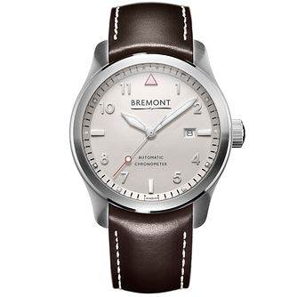 Bremont SOLO/WH-SI Men's Stainless Steel Leather Strap Watch - Product number 5129370