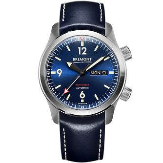 Bremont U-2/Bl Men's Stainless Steel Leather Strap Watch - Product number 5129389
