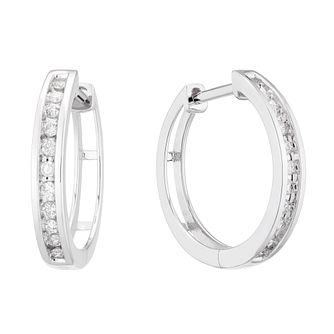 9ct White Gold 0.15ct Diamond Channel Set 10mm Hoop Earrings - Product number 5129737