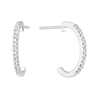 9ct White Gold 0.10ct Diamond 1/2 Hoop Earrings - Product number 5129745