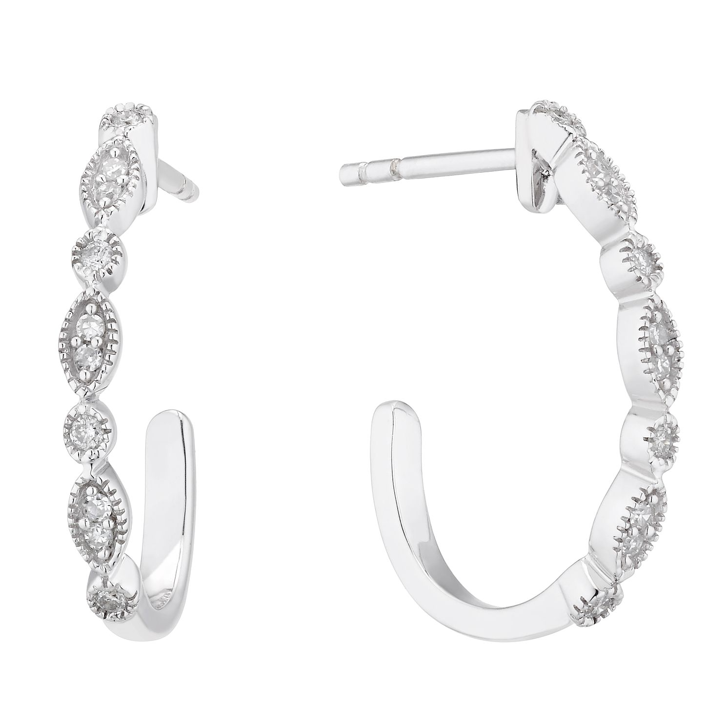 9ct White Gold 1/10ct Diamond Vintage 3/4 Hoop Earrings - Product number 5129761
