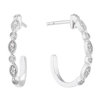 9ct White Gold 0.10ct Diamond Vintage 3/4 Hoop Earrings - Product number 5129761