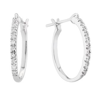 9ct White Gold 0.10ct Diamond Skinny Hoop Earrings - Product number 5131588