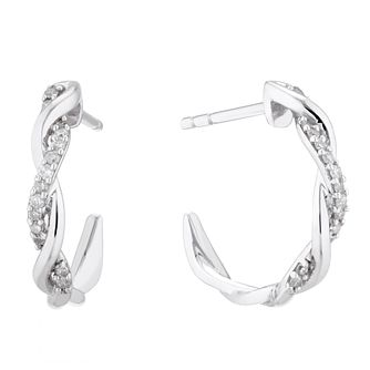 9ct White Gold 0.10ct Diamond Twist 3/4 Hoop Earrings - Product number 5131596