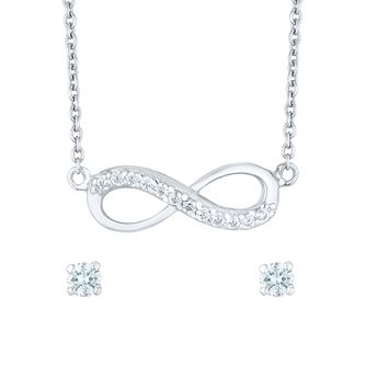 Silver Cubic Zirconia Infinity Earring and Necklace Set - Product number 5132436