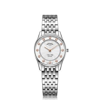 Rotary Ultra Slim Diamond Ladies' Steel Bracelet Watch - Product number 5132452