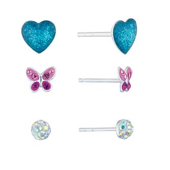 Silver Crystal Three-Piece Stud Earrings Set - Product number 5132525