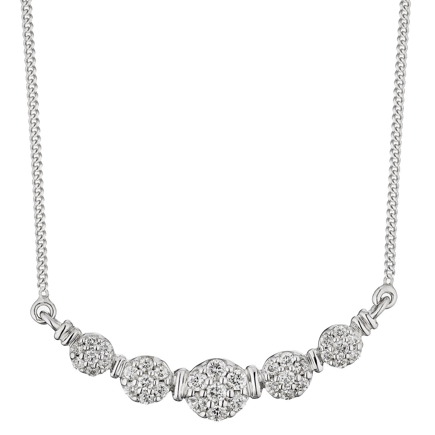 9ct White Gold 1/4ct Diamond Gradient Cluster Necklace - Product number 5132657