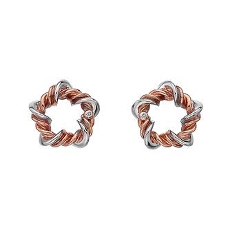 Hot Diamonds Silver & Rose Gold Tone Vine Star Stud Earrings - Product number 5132886
