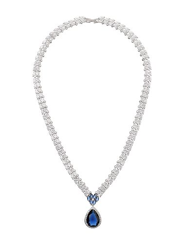 Mikey Clear & Sapphire Blue Teardrop Cubic Zirconia Pendant - Product number 5133793