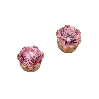 9ct Yellow Gold Pink Cubic Zirconia 4mm Stud Earrings - Product number 5138868