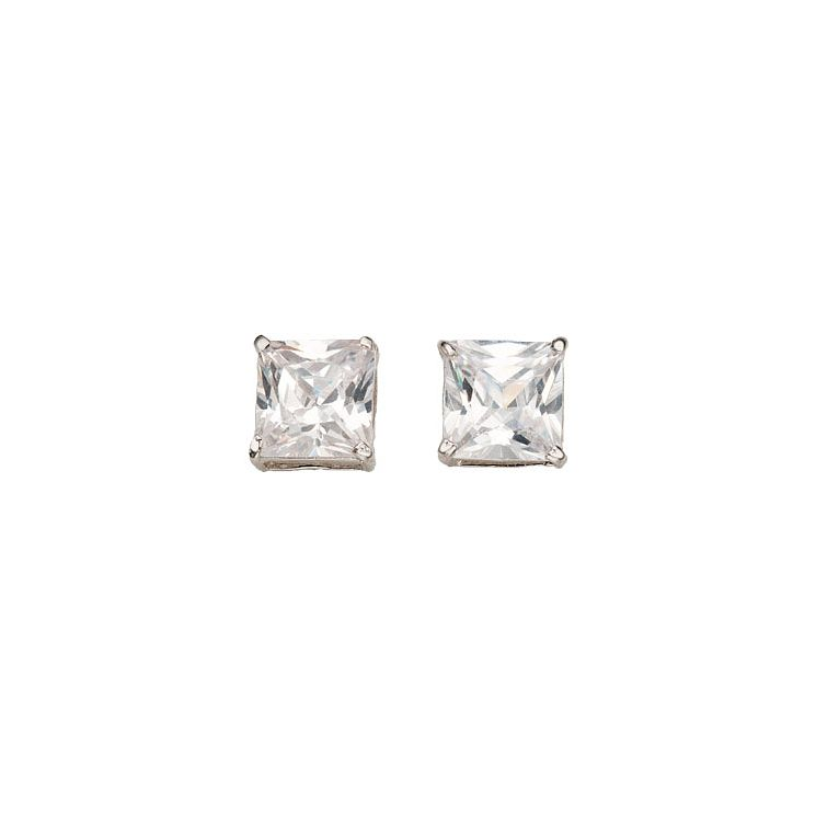 9ct White Gold Cubic Zirconia Square Basket Stud Earrings - Product number 5139333