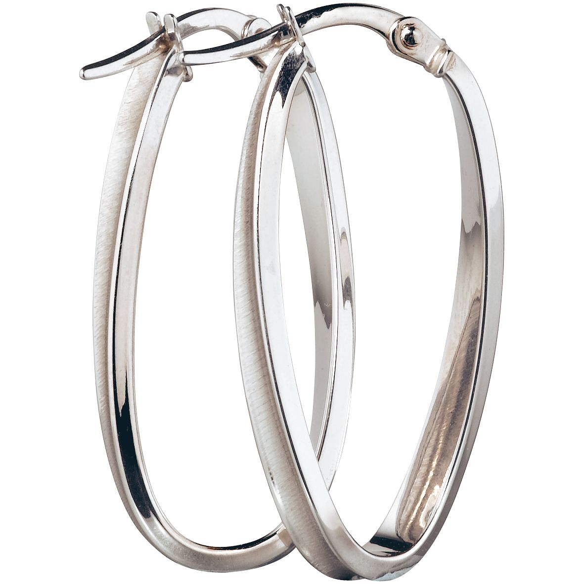 9ct White Gold Oval Twist 26X12mm Hoop Earrings - Product number 5141702