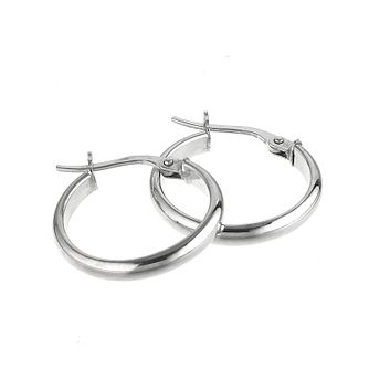 9ct White Gold 15mm Round Hoop Earrings - Product number 5141710