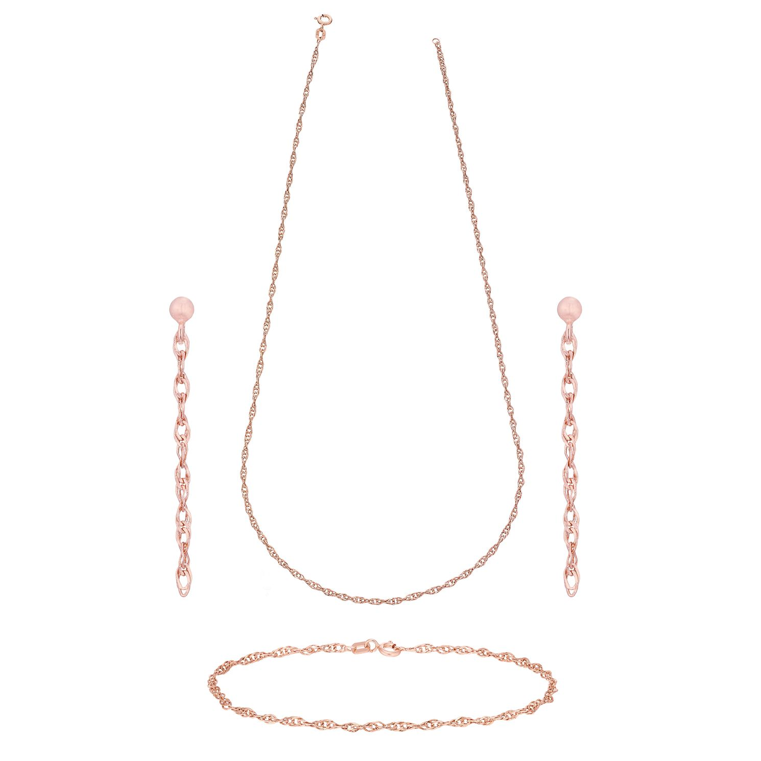 9ct Rose Gold Singapore Necklace, Bracelet & Drop Earrings - Product number 5142040