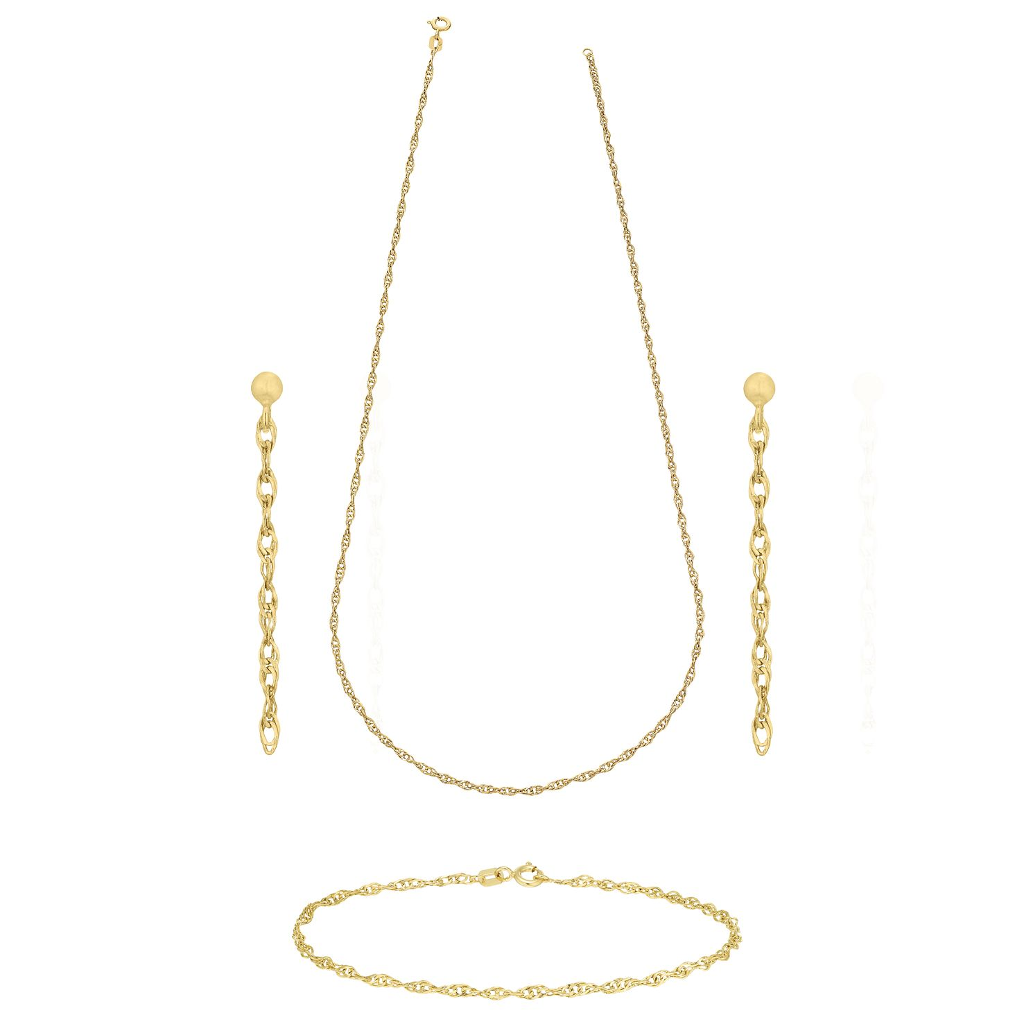 9ct Gold Fancy Singapore Necklace, Bracelet & Drop Earrings - Product number 5142059