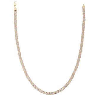 "9ct Gold 3 Colour Plaited Herringbone 17"" Necklace - Product number 5142067"
