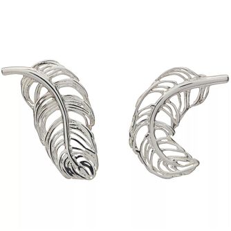 Lily Charmed Silver Feather Stud Earrings - Product number 5156335