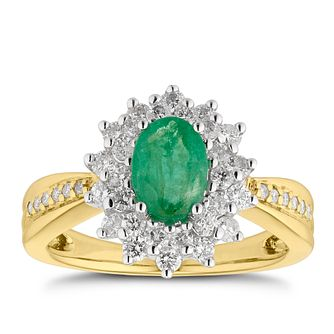 18ct Two Tone Gold Emerald & 0.55ct Diamond Fancy Ring - Product number 5157323
